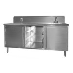 "30"" x 144"" Spec-Master® Beverage Counter with Rolled Front Edge and Sink On Right End, #SMS-88-BEV30144SE-10BS/R"