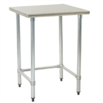 "24"" x 24"" 16/304 Stainless Steel Top Worktable; Flat Top and Galvanized Tubular Base - Deluxe Series with 4 Legs, #SMS-88-T2424GTEB"