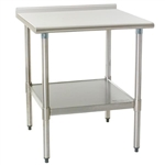 "24"" x 24"" 16/430 Stainless Steel Top Worktable; Rear Upturn, Galvanized Base with Adjustable Undershelf - Budget Series with 4 Legs, #SMS-88-UT2424B"