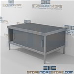 Organize your mailroom with mail center equipment consoles with bottom sliding doors durable design with a structural frame and comes in wide selection of finishes skirts on 3 sides In line workstations For the Distribution of mail and office supplies