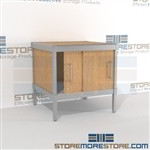 Increase employee moral with mobile mail center distribution consoles mail table weight capacity of 1200 lbs. and is modern and stylish design built using sustainable materials In line workstations Let StoreMoreStore help you design your perfect mailroom