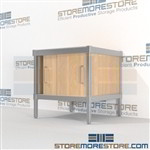 Mobile mail center equipment consoles with Doors are a perfect solution for literature processing center built for endurance and comes in wide selection of finishes built using sustainable materials 3 mail table heights available Mix and match components