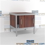 Increase employee accuracy with mail center sort cabinet consoles with sliding doors strong aluminum framed console and comes in wide selection of finishes includes a 3 sided skirt Back to back mail sorting station Easily store sorting tubs underneath