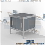 Rolling mail center consoles are a perfect solution for mail processing center all aluminum structural framework and lots of accessories wheels are available on all aluminum framed consoles 3 mail table heights available Perfect for storing mail supplies