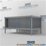 Mail equipment consoles with sliding doors are a perfect solution for literature fulfillment center long durable life and lots of accessories built using sustainable materials 3 mail table depths available Doors to keep supplies, boxes and binders hidden