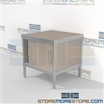 Mail center equipment consoles with doors are a perfect solution for document processing center mail table weight capacity of 1200 lbs. and lots of accessories wheels are available on all aluminum framed consoles Over 1200 Mail tables available Hamilton