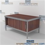 Mail equipment consoles with lower doors are a perfect solution for literature processing center strong aluminum framed console and comes in wide selection of finishes skirts on 3 sides Back to back mail sorting station Perfect for storing mail supplies