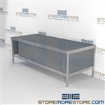 Mail center adjustable leg sort table is a perfect solution for literature processing center and is modern and stylish design wheels are available on all aluminum framed consoles Extremely large number of configurations Perfect for storing mail supplies