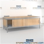Mail center sorting cabinet consoles with lower sliding doors are a perfect solution for literature processing center built for endurance with an innovative clean design built using sustainable materials L Shaped Mail Workstation Mix and match components