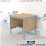 Mail work table with half storage shelf is a perfect solution for literature fulfillment center durable design with a strong frame and variety of handles available quality construction In line workstations Perfect for storing mail scales and supplies