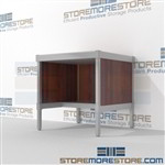 Mail desk with half shelf is a perfect solution for literature processing center built for endurance and variety of handles available aluminum frames eliminate exposed edges and protect laminate work surfaces Full line for corporate mailroom Hamilton
