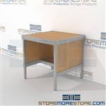 Mail room rolling table with half shelf is a perfect solution for incoming mail center and is modern and stylish design all consoles feature modesty panels located at the rear Back to back mail sorting station Perfect for storing mail machines and scales