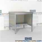 Mail center desk with half shelf is a perfect solution for literature processing center durable work surface and comes in wide selection of finishes includes a 3 sided skirt Over 1200 Mail tables available Doors to keep supplies, boxes and binders hidden