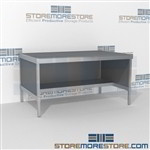 Mail services mobile work table with half storage shelf is a perfect solution for internal post offices mail table weight capacity of 1200 lbs. and variety of handles available includes a 3 sided skirt L Shaped Mail Workstation Communications Furniture
