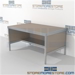 Mail flow workstation with half storage shelf is a perfect solution for document processing center and variety of handles available skirts on 3 sides Start small with expandable mail room furniture, expand as business grows Perfect for storing mail tubs