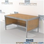 Mail services work table with half shelf is a perfect solution for incoming mail center mail table weight capacity of 1200 lbs. and variety of handles available includes a 3 sided skirt Extremely large number of configurations Efficient mail center table