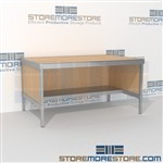 Mail services work table with half storage shelf is a perfect solution for corporate mail hub built strong for a long durable work life and comes in wide selection of finishes quality construction 3 mail table depths available Communications Furniture