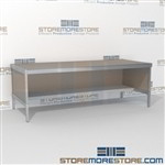 Mail room adjustable consoles with lower half storage shelf are a perfect solution for mail processing center all aluminum structural framework with an innovative clean design built using sustainable materials Back to back mail sorting station Hamilton