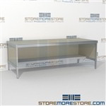 Mail center bench with lower half shelf is a perfect solution for interoffice mail stations built for endurance with an innovative clean design built using sustainable materials Over 1200 Mail tables available Perfect for storing mail machines and scales
