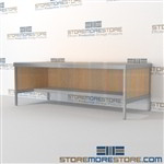 Mail center adjustable desk with lower half storage shelf is a perfect solution for corporate services and comes in wide selection of finishes built from the highest quality materials Full line for corporate mailroom Perfect for storing mail supplies