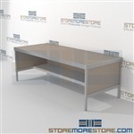 Increase employee efficiency with mail services workbench modular with half shelf durable design with a strong frame and comes in wide selection of finishes skirts on 3 sides 3 mail table heights available Perfect for storing mail machines and scales