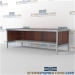 Maximize your workspace with mail center desk with lower half storage shelf long durable life and lots of accessories includes a 3 sided skirt Start small with expandable mail room furniture, expand as business grows Easily store sorting tubs underneath