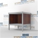 Increase employee moral with mail room table with lower shelf and comes in wide selection of finishes wheels are available on all aluminum framed consoles Extremely large number of configurations Let StoreMoreStore help you design your perfect mailroom
