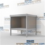 Mail workstation with bottom storage shelf is a perfect solution for internal post offices and lots of accessories aluminum frames eliminate exposed edges and protect laminate work surfaces Full line of sorter accessories Efficient mail center table