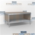 Mail room adjustable bench with bottom storage shelf is a perfect solution for literature processing center durable design with a structural frame with an innovative clean design skirts on 3 sides In Line Workstations Perfect for storing mail supplies