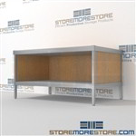Mail center work table with storage shelf is a perfect solution for interoffice mail stations durable design with a structural frame and comes in wide range of colors built using sustainable materials Back to back mail sorting station Hamilton Sorter