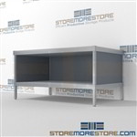 Improve your company mail flow with mail room workstation with storage shelf durable design with a strong frame and comes in wide range of colors wheels are available on all aluminum framed consoles 3 mail table depths available Communications Furniture