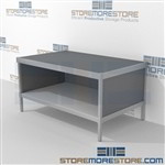 Mail flow mobile desk with lower shelf is a perfect solution for literature processing center mail table weight capacity of 1200 lbs. and comes in wide range of colors skirts on 3 sides In line workstations Perfect for storing mail scales and supplies