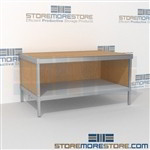 Increase employee efficiency with mail center adjustable desk with bottom shelf long durable life and variety of handles available built using sustainable materials 3 mail table heights available Perfect for storing literature like catalogs and brochures