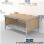Increase employee accuracy with mail center desk with storage shelf built strong for a long durable work life and comes in wide range of colors includes a 3 sided skirt Extremely large number of configurations Perfect for storing mail scales and supplies