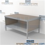 Increase employee accuracy with mail flow mobile table with bottom storage shelf durable design with a structural frame and lots of accessories includes a 3 sided skirt Back to back mail sorting station Doors to keep supplies, boxes and binders hidden