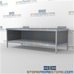 Maximize your workspace with mail flow mobile workbench with storage shelf durable design with a structural frame and comes in wide range of colors skirts on 3 sides 3 mail table depths available Let StoreMoreStore help you design your perfect mailroom