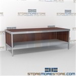 Mail flow work table with lower shelf is a perfect solution for interoffice mail stations durable work surface and variety of handles available wheels are available on all aluminum framed consoles Full line for corporate mailroom Communications Furniture