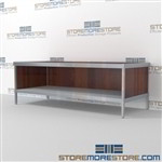 Mail services desk with lower shelf is a perfect solution for mail processing center strong aluminum framed console and comes in wide range of colors quality construction Over 1200 Mail tables available Doors to keep supplies, boxes and binders hidden