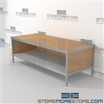 Mail flow sort table with full shelf is a perfect solution for outgoing mail center mail table weight capacity of 1200 lbs. and variety of handles available built using sustainable materials In Line Workstations Specialty tables for your specialty needs