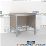Improve your company mail flow with mail workstation durable design with a strong frame and lots of accessories skirts on 3 sides Extremely large number of configurations Bottom shelf for storing binders, literature, envelopes, and other postage supplies