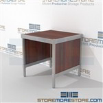 Mail rolling sort consoles are a perfect solution for interoffice mail stations and lots of accessories aluminum frames eliminate exposed edges and protect laminate work surfaces L Shaped Mail Workstation Perfect for storing mail machines and scales