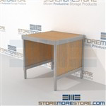 Mail table is a perfect solution for mail processing center all aluminum structural framework and variety of handles available all consoles feature modesty panels located at the rear L Shaped Mail Workstation Perfect for storing mail machines and scales