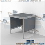 Mail center table is a perfect solution for interoffice mail stations built for endurance and comes in wide selection of finishes built from the highest quality materials Full line of sorter accessories Doors to keep supplies, boxes and binders hidden