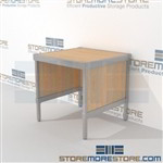 Increase employee efficiency with mail flow work table durable work surface and lots of accessories ergonomic design for comfort and efficiency The flexibility of modular mail furniture means you can easily reconfigure and move Communications Furniture
