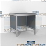 Mail center work table modular is a perfect solution for literature processing center built for endurance and variety of handles available includes a 3 sided skirt Full line for corporate mailroom Let StoreMoreStore help you design your perfect mailroom