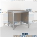 Mail room bench is a perfect solution for corporate services product is constructed of industrial grade 40-50 lb. substrate and aluminum extrusions and is modern and stylish design skirts on 3 sides 3 mail table depths available Mix and match components
