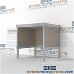 Mail room table is a perfect solution for interoffice mail stations durable work surface and comes in wide selection of finishes all consoles feature modesty panels located at the rear Extremely large number of configurations Efficient mail center table