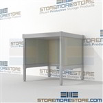 Increase efficiency with mail center adjustable bench durable work surface and variety of handles available wheels are available on all aluminum framed consoles Extremely large number of configurations For the Distribution of mail and office supplies