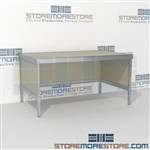 Mail center table distribution is a perfect solution for interoffice mail stations all aluminum structural framework and variety of handles available skirts on 3 sides Extremely large number of configurations Perfect for storing mail machines and scales