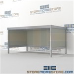 Improve your company mail flow with mail flow bench furniture mail table weight capacity of 1200 lbs. with an innovative clean design ergonomic design for comfort and efficiency Extremely large number of configurations Perfect for storing mail supplies